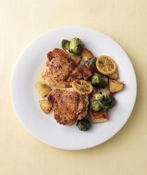 Chicken Thighs with Potatoes and Brussels Sprouts recipe