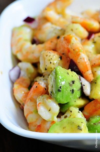 Shrimp Avocado Salad Recipe - use small shrimp, add diced mango, add diced apple, add lemon & lime juice to shrimp, use less red wine vinegar, add diced pineapple.