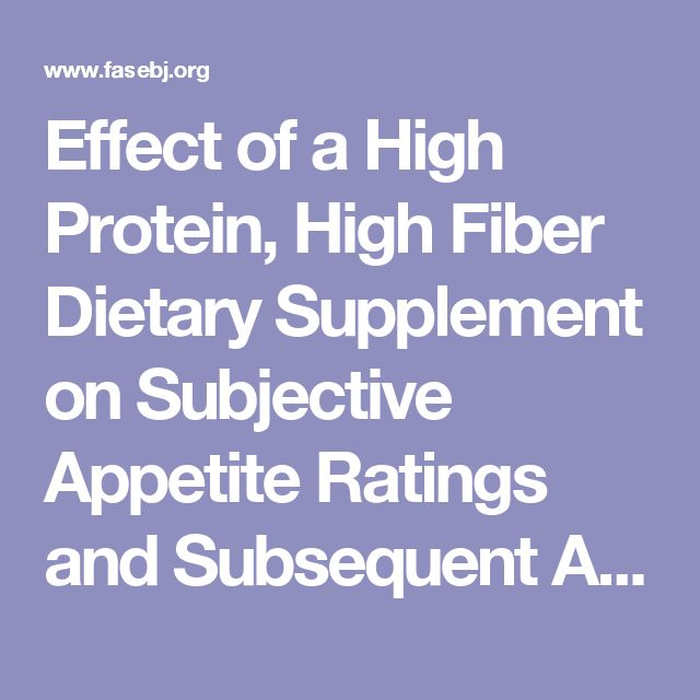 Effect of a High Protein, High Fiber Dietary Supplement on Subjective Appetite Ratings and Subsequent Ad Libitum Energy Intake in Overweight Men and Women