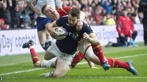 Tommy Seymour scores a try for Scotland at the start of the second half.  A spirited second-half performance at Murrayfield earned Scotland their first Six Nations win (29-13) over Wales since 2007.