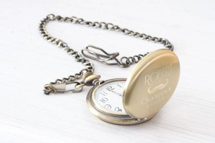 Personalized Gold Vintage Antique old Pocket Watch, Engraved Custom Monogram pocketwatch chain, groomsmen gift
