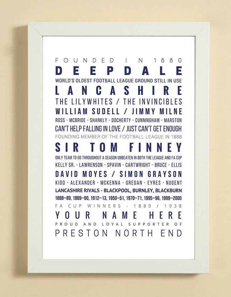 Preston North End Football Club Word Art Design Print - Words, Names And Facts Associated With Preston North End FC - In White Or Black A4 Box Frame