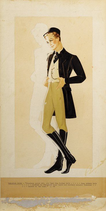 """Walter Plunkett vintage original costume sketch of a """"Tarleton Twin"""" from Gone With the Wind. (MGM, 1939)  Accomplished in pencil, ink and gouache on 11 x 22 in. artist board.  Depicting the young man in a black coat, crème vest and black ascot. With riding trousers and polished knee-high black boots. With a flourish of detail such as a tie-pin and black cap set upon the twin's shock of ginger hair. With a background silhouette serving as a reminder of the twin not pictured."""