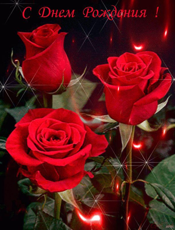 Открытка с днем рождения анимированные розы, господне