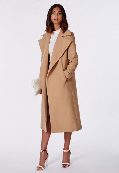 Kimberley Waterfall Wool Coat Camel - Coats & Jackets - Missguided $113