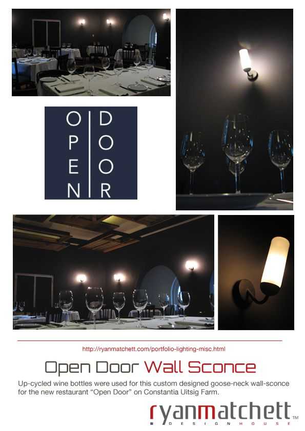 #OpenDoorRestaurant - #ConstantiaUitsig now OPEN check out our up-cycled wall sconces!