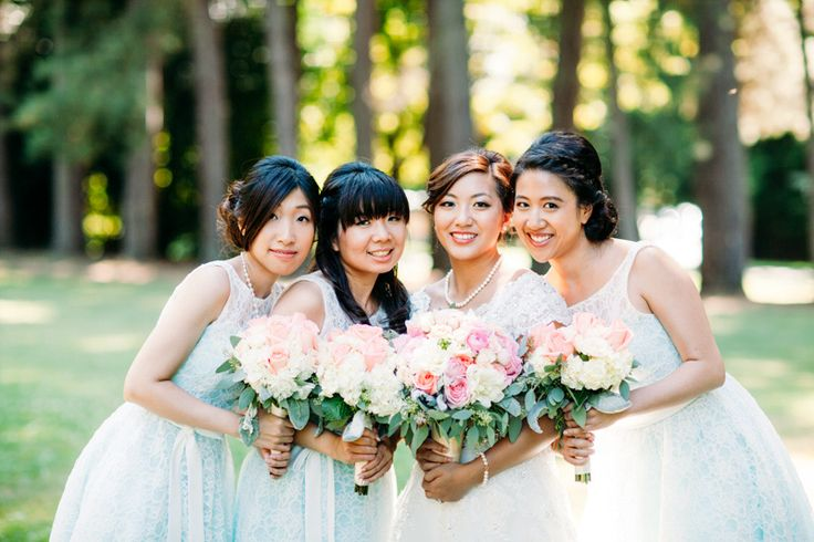 The bride and the bridesmaids - wedding in Stanley Park Pavilion, Vancouver, BC, Canada.  Photography by Love Frankly Wedding photography