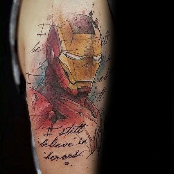 70 Iron Man Tattoo Designs für Männer – Tony Stark Ink Ideen