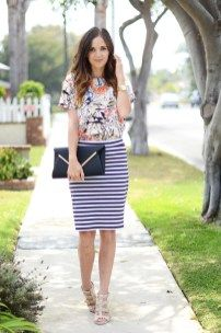 Stripe Skirt Outfits Ideas For Working Women.