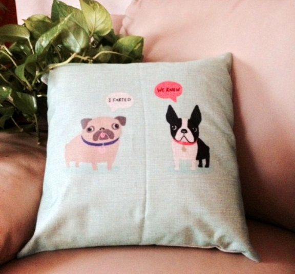 LITTLE STINKER Pillow with Aromatherapy Sachet by HappyDogGoodies on Etsy