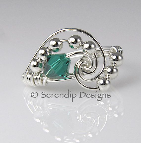 May Birthstone Ring Argentium Sterling Silver Emerald