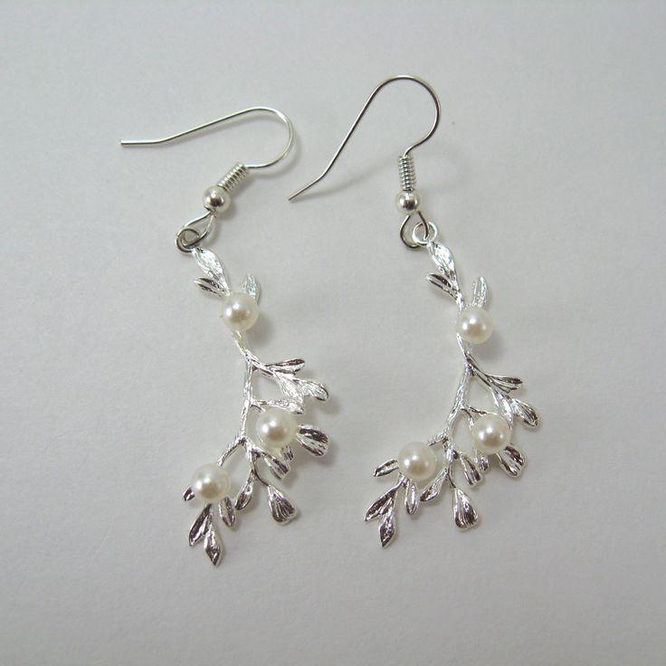 Leafy vine with pearls surgical steel earrings, silver branch pendant earrings, nickel free earrings, silver dangle earrings, pearl earrings by AndesBeads on Etsy