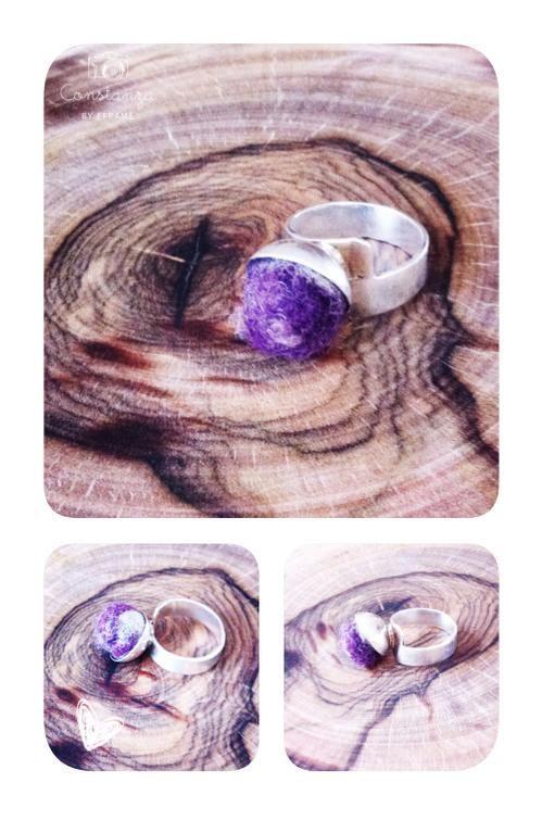 anillo de plata con aplicación en fieltro