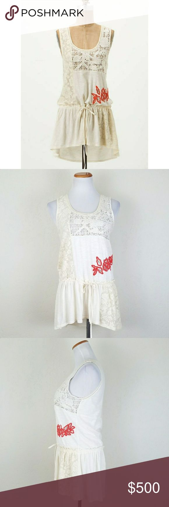 Anthro Caravan Patchwork Top Anthropologie Ric Rac Caravan Patchwork Top.  Skewed blocks of embellished fabric create the eclectic tapestry of RicRac's draw-waist tank. Cotton. Coral beaded detail. High low fit. Color is Ivory. NWT.  Bust 17 Length 29 front / 32 back  No trade or P.P Reasonable offers considered Bundle Discount Anthropologie Tops Tank Tops