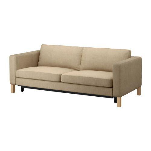 KARLSTAD 3人掛けソファベッド - リンドー ベージュ - IKEA 商品の大きさ  奥行き: 93 cm  高さ: 83 cm  シートの奥行き: 56 cm  この商品は組み立てが必要です  書類  Downloads for this product:  組み立て説明書  主な特徴  - シートの下にはベッドリネン用の収納スペースが付いています  - 座面フレームを手前に引き出すと、快適な2人用ベッドになります  - シートクッションの中素材には高反発フォームとポリエステル繊維を使用。とても快適な座り心地です  - カバーは厚手で丈夫な綿/麻/ポリエステル混紡。太さの異なる複数の糸を混ぜて織った生地なので存在感があります  - 交換用のカバーを各種取りそろえているので、簡単に模様替えが楽しめます  - カバーは取り外してドライクリーニングできます  デザイナー  Tord Björklund  パッケージの大きさと重さ  3 パッケージ  パッケージの大きさ、重さ、商品番号は  こちらをご確認ください。  ※大きさ、重さはサプライヤーにより若干の誤差があります。