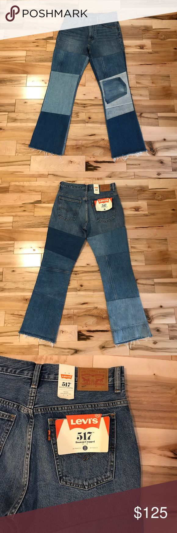 "Levi's 517 patched boot cut cropped jean High rise, rise = 10.75'' ✨ 28"" inseam✨ runs a bit small. I'm typically a 27 but these are a 28 and snug. I can tell they will stretch out though ✨ still full price on free people website!! Levi's Jeans Ankle & Cropped"