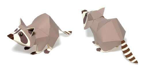 Animal papercraft : Raccoon paper model toy free printable template