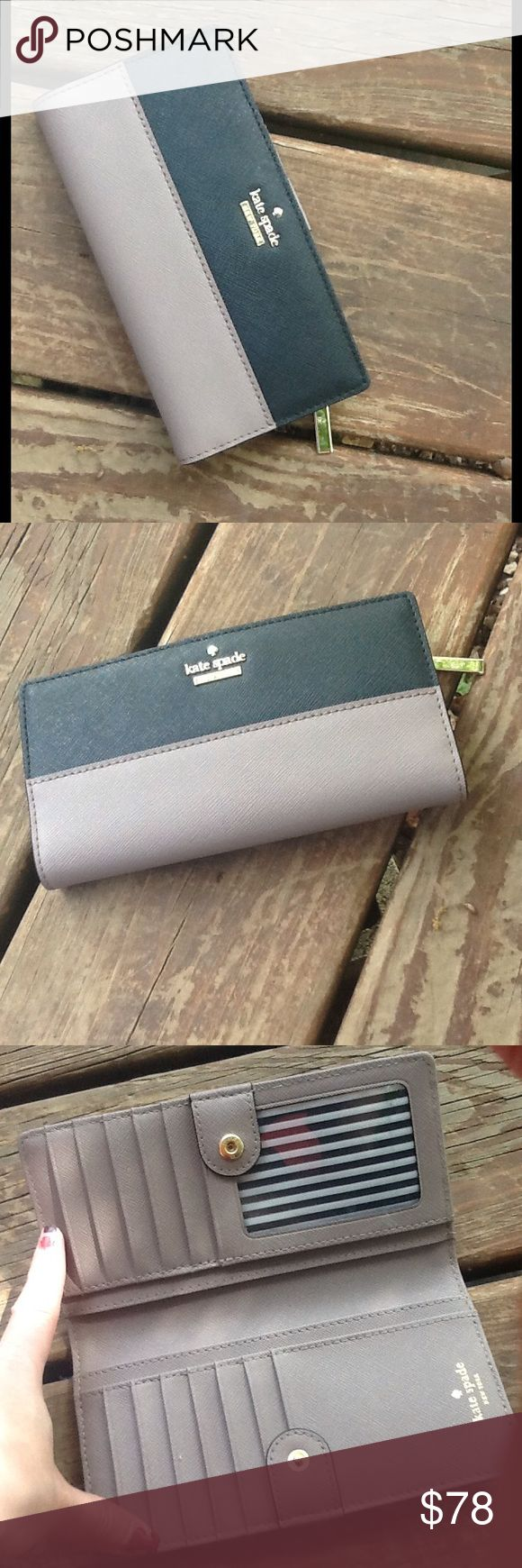 """Kate Spade Cameron Street Lacey Wallet. ♠️❤️ MATERIAL crosshatched leather with matching trim 14-karat gold plated hardware FEATURES medium continental wallet with snap closure 12 credit card slots, one id slot, and two billfolds embossed ksny signature and light gold spade stud DETAILS 3.5""""h x 6.6""""w Only Flaw is small pen ink stain, below zipper. No Trades. No Holds. Reasonable Offers Considered. kate spade Bags Wallets"""