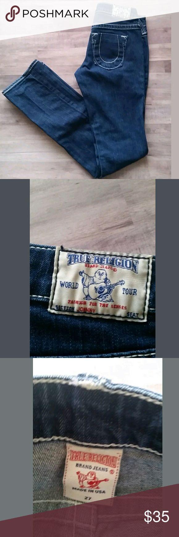 """True Religion Johnny Dark Wash Jeans Size 27 (95) True Religion Johnny Dark Wash Jeans Size 27 (95) In great condition, no holes or stains. Waist 14"""" Inseam 33"""" True Religion Jeans Straight Leg"""