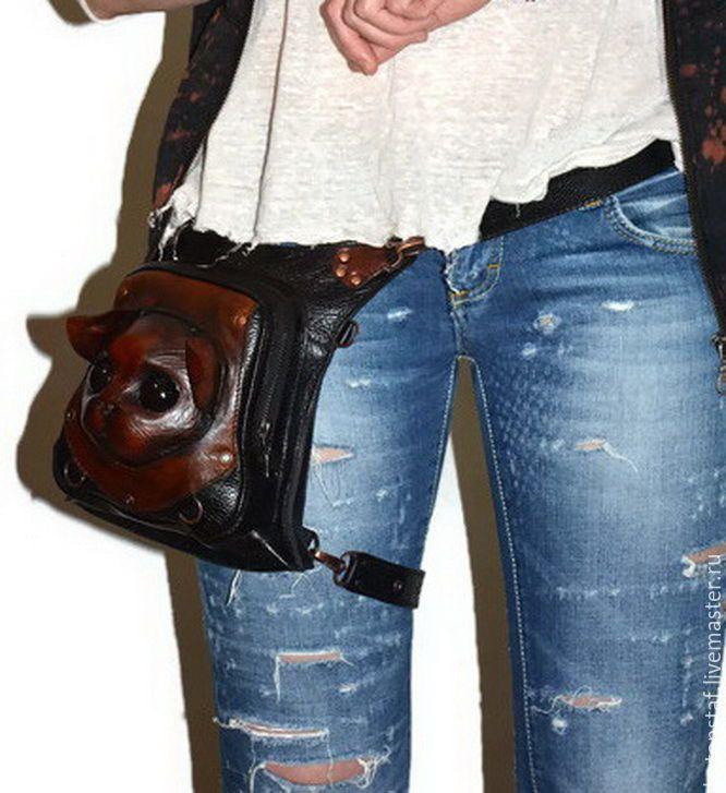 Купить Сумка - рюкзак - Кошка. Набедренная сумка. Кот. Стимпанк . - рюкзак кожаный, рюкзак из кожи