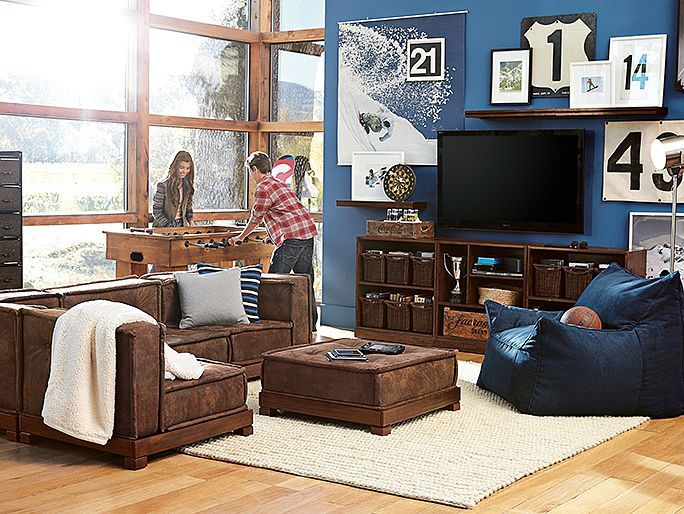 I love the PBteen Cushy Game Lounge on pbteen.com- Rec Room Ideas