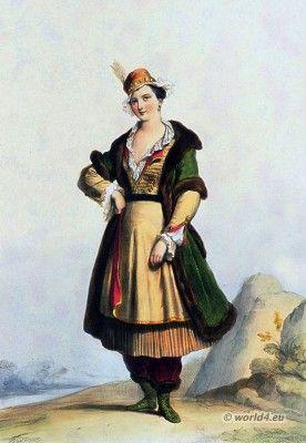 Poland national costume. Polish woman costume in 17th century. Baroque period fashion.