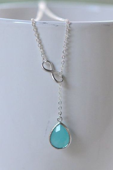 Turquoise Teardrop and Silver Infinity Lariat