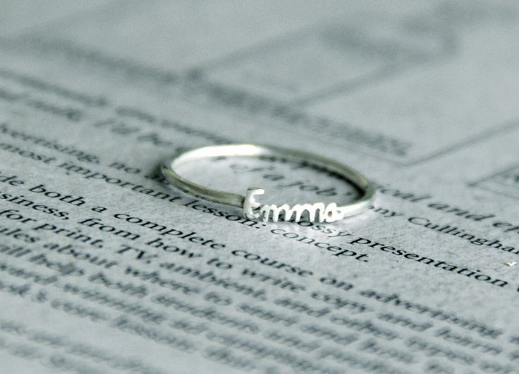 You can choose any words to be put on the ring, in whatever font you like. So tiny and sweet!