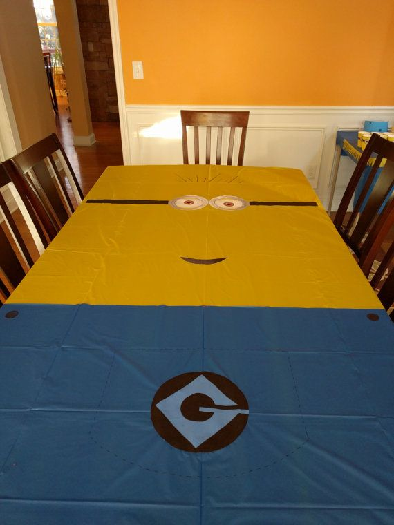 Minion Despicable me inspired idea for kids birthday Party decoration Minion Tablecloth PRINTABLE Instant Download eyes mouth Gru overalls