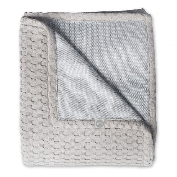 Jollein deken wafel en gebreid grijs ledikant 100x150 cm - Lief en Klein
