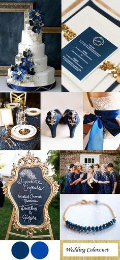 Azul marino + azul cobalto + dorado como paleta para boda de colores azul vintage. #DecoracionBoda