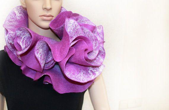 Long ruffle handmade felted scarf Jabot Neck warmer por ProninA, $83.00
