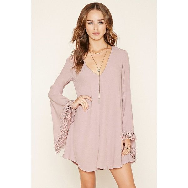 Forever 21 Women's  Crochet-Trim Mini Dress (98.930 COP) ❤ liked on Polyvore featuring dresses, flared sleeve dress, pink mini dress, mini dress, forever 21 and long dresses