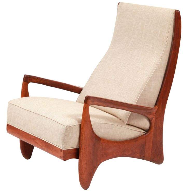 """Prototype Walnut  Linen Allen Ditson Chair. Free form walnut lounge chair by Allen Ditson from 1963. This signed and dated one off chair has a wonderfully sculpted form that looks great from every angle. The wood has recently been oiled and the upholstery done in a fine cotton linen. Arm height is 21"""". 5.8K"""