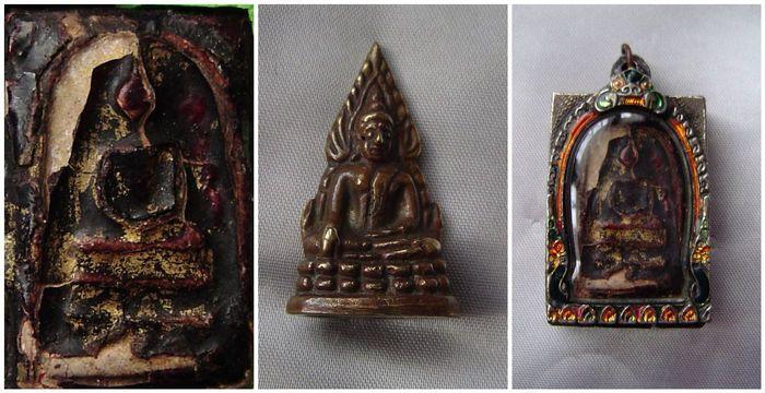 Amuletten - Thailand - 1866-eerste helft van de 20e eeuw.  1) zeldzame Phra Somdej Wat Rakang Pim Sangglati vallen Kráng Putsa opgelapt met bladgoud. Een heilig poeder amulet gemaakt op Wat Rakang Bangkok worden 2409 (1866) - 3.5 x 2.5 cm ca.Kráng Putsa is een harsachtige pigment afgeleid van insecten die betrekking hebben op de takken van oosten-gerichte jujubes.Gemengde metalen behuizing lage % zilver gebeiteld versieringen kleine semi-kostbare edelstenen 1900-1950. 5 x 3 cm x 15 cm ca.2)…