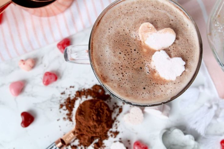 Pink Heart Shaped Marshmallows and Homemade Hot Chocolate