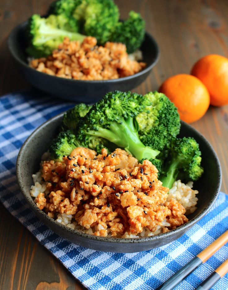 orange ground chicken with steamed broccoli; skip the rice for low carb