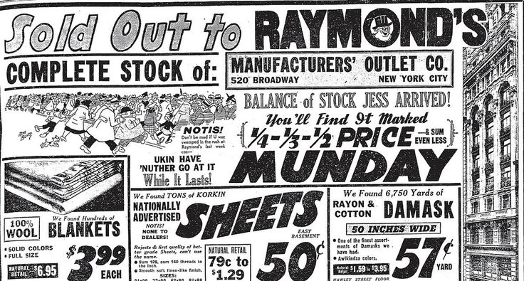 """Raymond's, Boston, MA -The store's mascot was rustic bearded swamp yankee Unkle Eph, who mangled English spelling; the store's slogan was """"Where U Bot The Hat"""". Typical advertising copy was """"Moar! Jess Arrived!... Nother big shipment ov the overstock frum a Midwestern Dept. stoar..."""""""