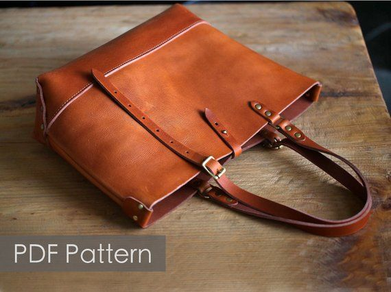 ff2d1136955f Leather tote bag pattern  Minimalist tote Pattern template Leathercraft  Pattern PDF Pattern everyday