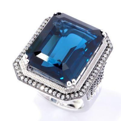 Gem Treasures® Sterling Silver 25.00ctw London Blue Topaz & White Zircon Ring