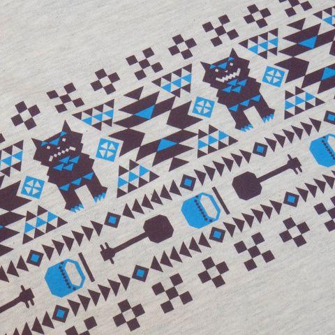 沖縄 三線(さんしん)Tシャツデザイン CAMP Ryukyuのネイティブミンサー シーサー、三線、エイサー太鼓と沖縄モチーフが ふんだんに盛り込まれているよ、ズームにしたらよく分かる