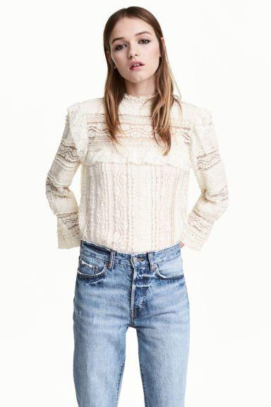Koronkowa bluzka z falbanami - Biały - ONA | H&M PL