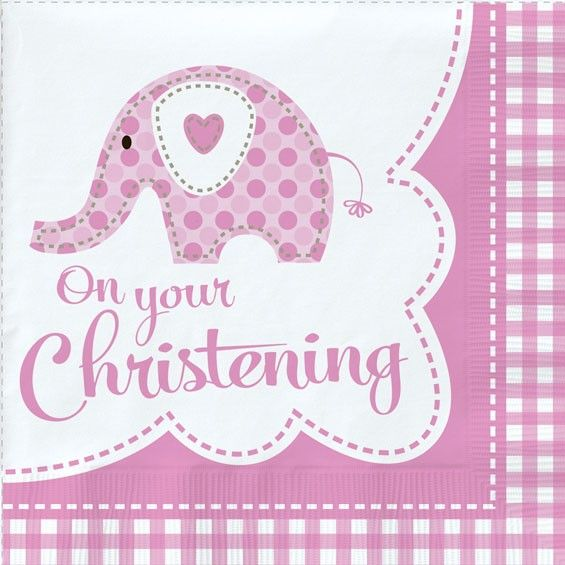 Pink Elephant Christening Napkins - Pack of 18