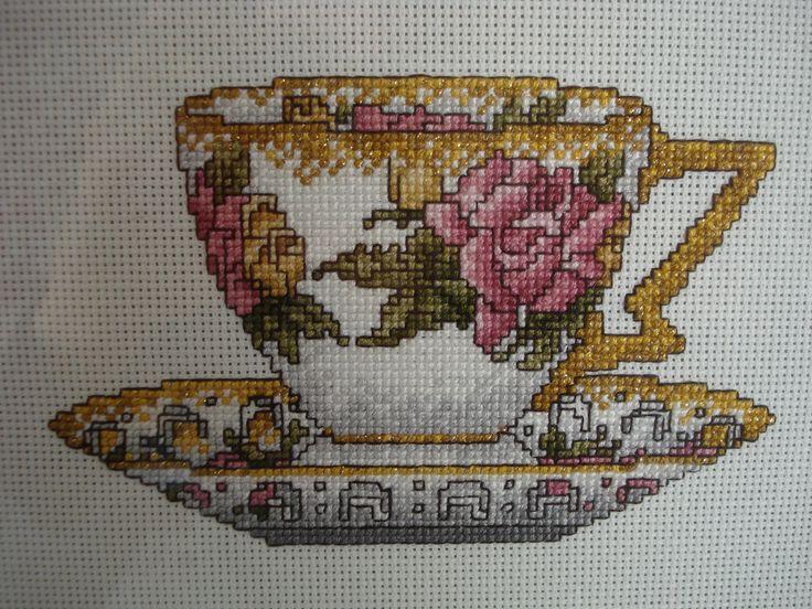 https://flic.kr/p/4wakxX | cross stitch tea cup | Pattern from My Cup of Tea, by Cross My Heart.