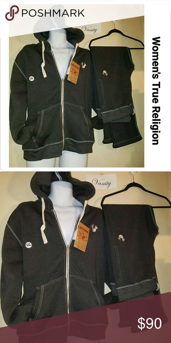Woman's True Religion Sweatsuit Brand New with tags. Soooo comfortable! Season & vaca ready! ●|Suit in picture is a 2X ●|Color: Grey/ Black ●|SIZE: True to size slightly fitted and tight. order up a size for looser wear.   A retrofitted sweatsuit by True Religion Drawstring waistband, hoodie Zipper | hooded  | Front pockets  The perfect balance between activewear and athleisure. True Religion Pants Track Pants & Joggers