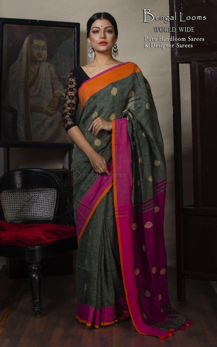 Beautiful Pure Handloom Grey Linen Jamdani Saree Available For Sale from Bengal Looms.