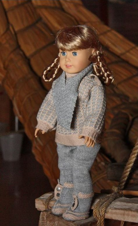 """American Girl 18"""" Doll knitting pant, sweater, scarf, hat and gloves pattern. I wish I could knit!"""
