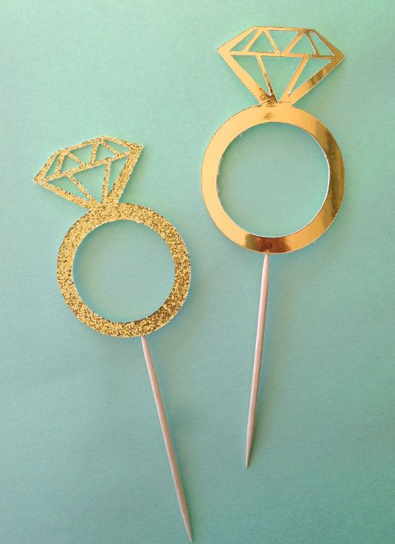 Diamond ring Cupcake or donut toppers in GOLD, GOLD GLITTER and more! Bachelorette Party, bridal shower, wedding.