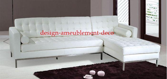Sofa et Chaise Longue - gauche comme est photo  -avec cadre en bois massif