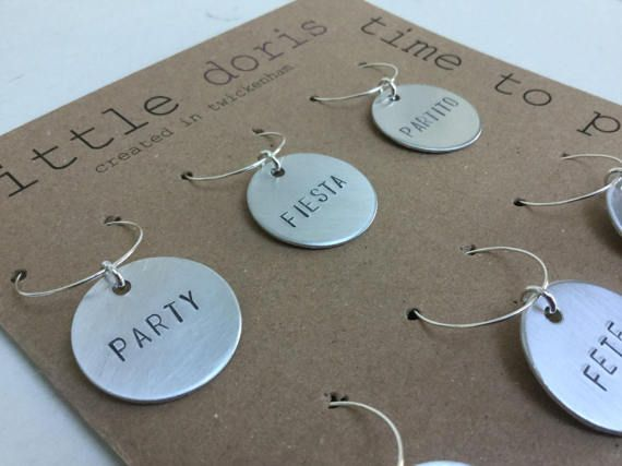 Hand stamped party themed wine charms personalised wine